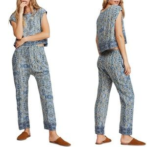 Free people make my day tapestry print bottoms